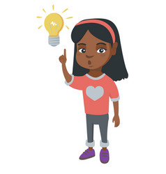 african little girl pointing at the lightbulb vector image