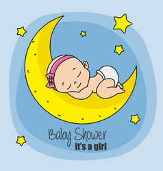 baby girl sleeping on top of the moon vector image