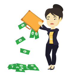 Bankrupt shaking out money from her briefcase vector