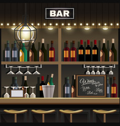 Bar interior realistic vector