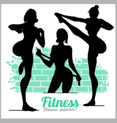 beautiful sportive womans silhouettes vector image