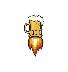 Beer Mug Rocket Ship Blasting Retro vector