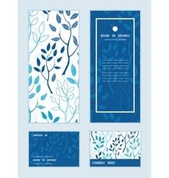 Blue forest vertical frame pattern vector