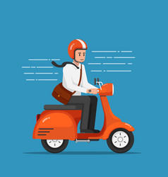 Businessman riding motorcycle or scooter going to vector