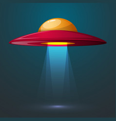 cartoon ufo bulb light vector image