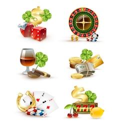 Casino Symbols Attributes 6 Icons Set vector image