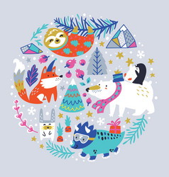 childish with winter animals vector image