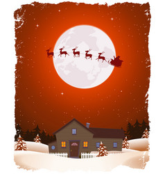 christmas red landscape and flying santa vector image