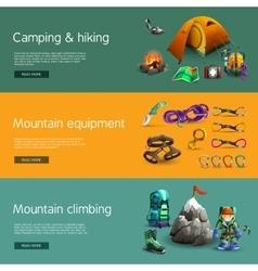 Climbing interactive 3d banners set vector