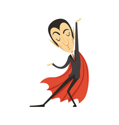 Count dracula dancing vampire in suit and red vector
