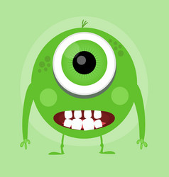 cute little cartoon monster green smiling little vector image