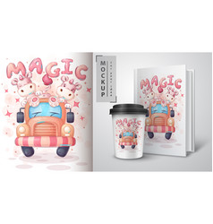 Cute unicorn in car poster and merchandising vector