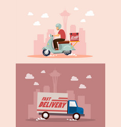 delivery service by van and motorbike vector image