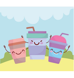 disposable paper cups coffee menu character vector image