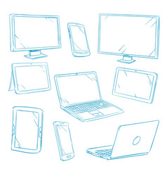 Doodle digital devices tablet pc laptop cell vector