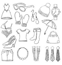 Doodle fashion images vector