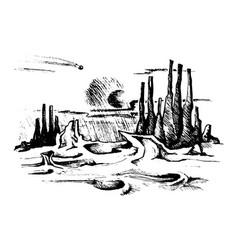 fantastic sketch landscape vector image
