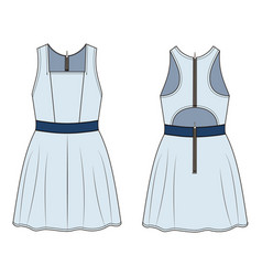 Fashion technical sketch of dress in vector