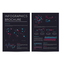 Financial brochure with various infographics vector