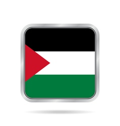 Flag of Palestine Shiny metallic square button vector