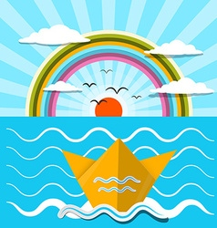 Flat Design Paper Boat and Ocean with Rainbow vector image