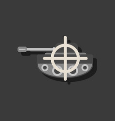 Flat icon design collection tank at gunpoint in vector