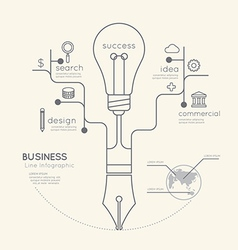 Flat linear Infographic Business Education Pen vector image