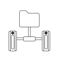 folder and servers technology in black and white vector image