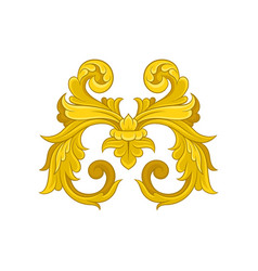 golden baroque pattern decorative floral ornament vector image