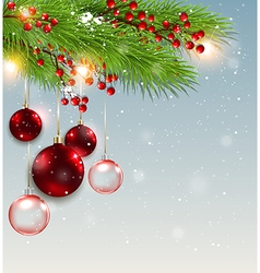 Green fir branch and red decorations vector image