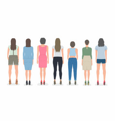 group women from back vector image