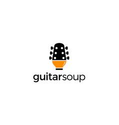 guitar soup logo design concept vector image