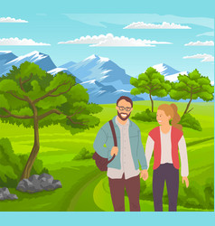 guy with backpack and girlwalking along road vector image