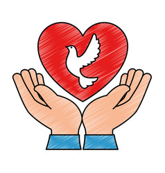 Hands human with dove of peace and heart vector