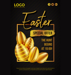 Happy easter day festival poster design vector