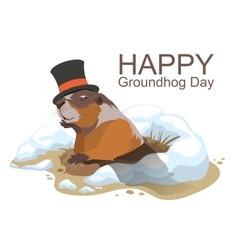 Happy Groundhog Day Marmot climbed out of hole vector