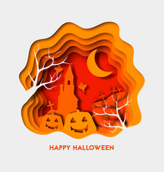 Happy halloween 3d abstract paper cut vector