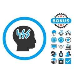 Headache Flat Icon with Bonus vector