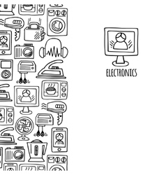Home electronics sketch vertical banner vector image