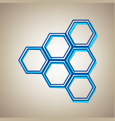 honeycomb sign sky blue icon with vector image
