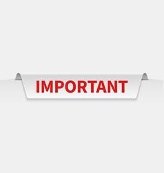 important banner information tabbed label vector image