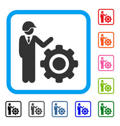 industrial gear engineer framed icon vector image