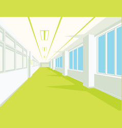 Interior of school hall with yellow floor windows vector