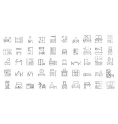 interior room objects icons set outline style vector image