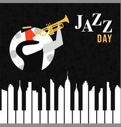 jazz day poster of piano key city at night vector image