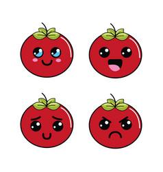 Kawaii faces tomato vegetable icon vector
