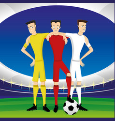 Leather soccer ball and soccer players vector