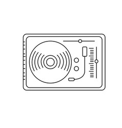 Line turntable to listen and play music vector