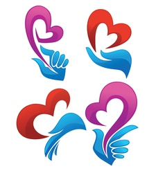 love in my heart collection of symbols vector image