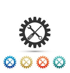 maintenance symbol screwdriver spanner cogwheel vector image